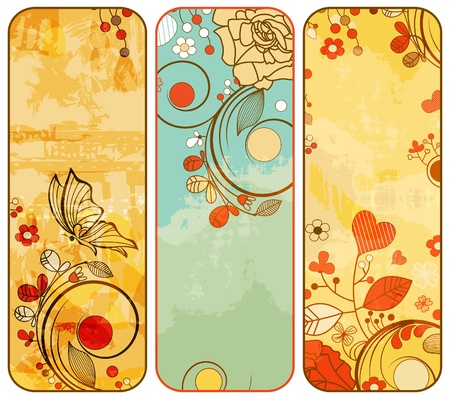 Vintage paper floral banners  Vector