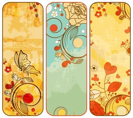 vintage floral: Vintage paper floral banners