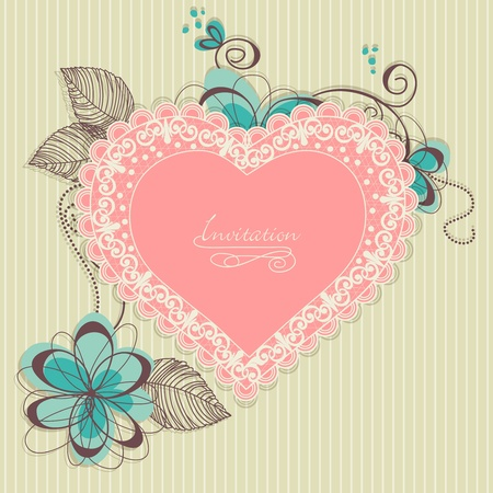 Retro romantic background, lace heart and flowers  Vector