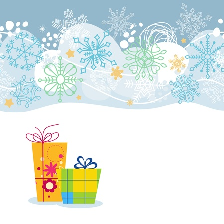 Vector Christmas background with snowflakes and gift boxes