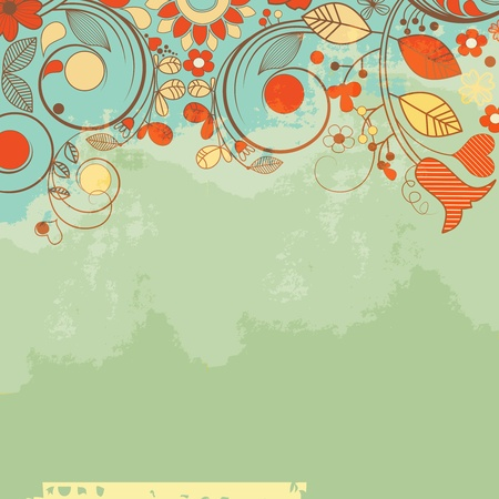 teal background: Retro romantic floral background, old paper texture