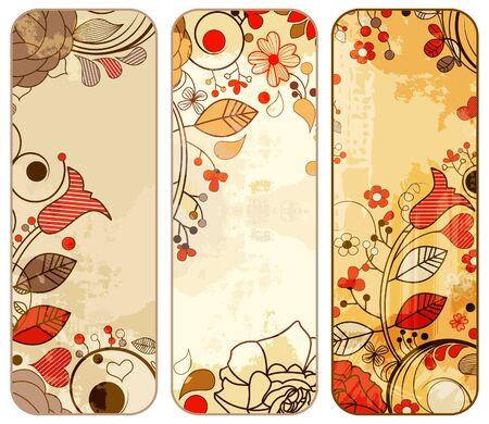 Old paper floral banners set  Vector