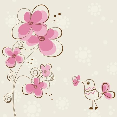 귀여움: 꽃과 귀여운 조류와 로맨틱 인사말 카드