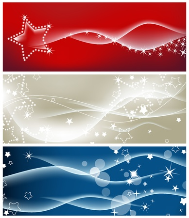 blue swirls: Light waves and sparkling stars backgrounds  Illustration