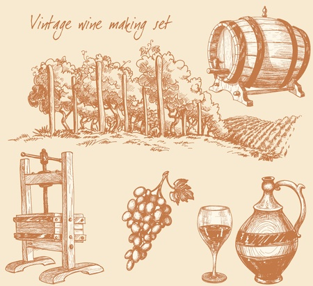 wine vineyards: Vintage wine and wine making set
