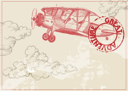 Vintage papier achtergrond met het vliegtuig en wolken