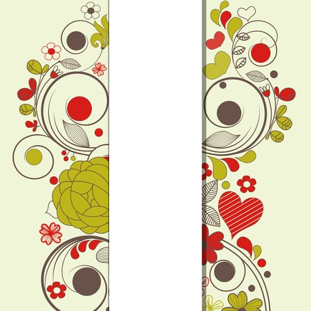 swirly design: Vector retro floral background with bar space for text  Illustration