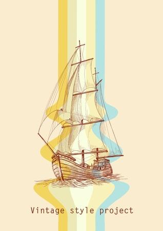 galleon: Vintage design waves and sailing boat