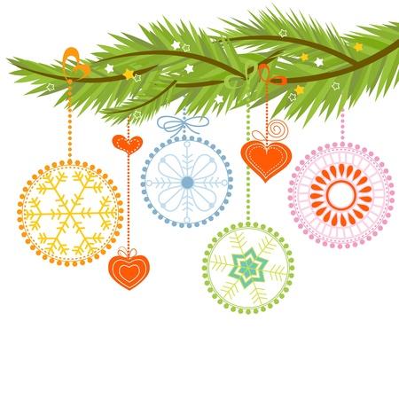 branche pin: Branche de pin et de boules de No�l sur fond blanc Illustration