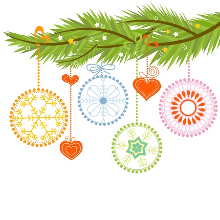 Pine branch and Christmas balls over white Vector