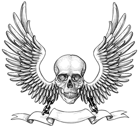 skull tattoo: Skull and wings heraldry