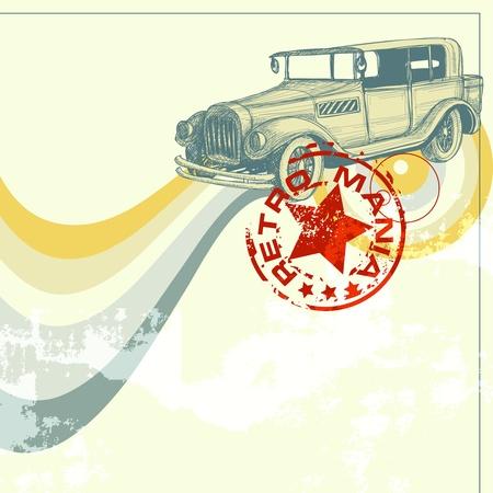 antique car: Retro car design, grunge background