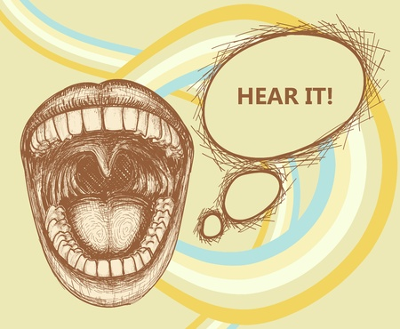 opened mouth: Opened mouth speaking loud and speech bubble  Illustration
