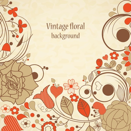swirly design: Vintage floral background