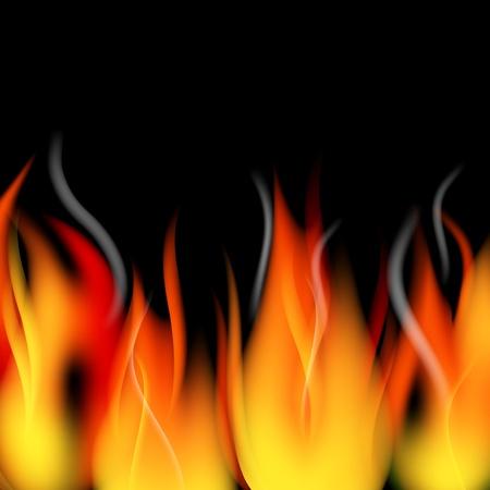 lägereld: Brand lågor och rök bakgrund Illustration