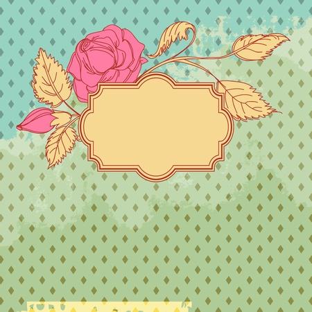 teal background: Vintage flower scrap template design