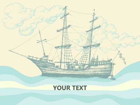 sailer: Vintage sailing boat side view, stylized waves and clouds design