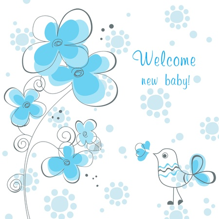 child birth: Baby boy shower with flowers and cute bird  Illustration