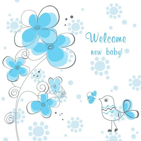 Douche bébé garçon avec des fleurs et oiseau mignon Vecteurs
