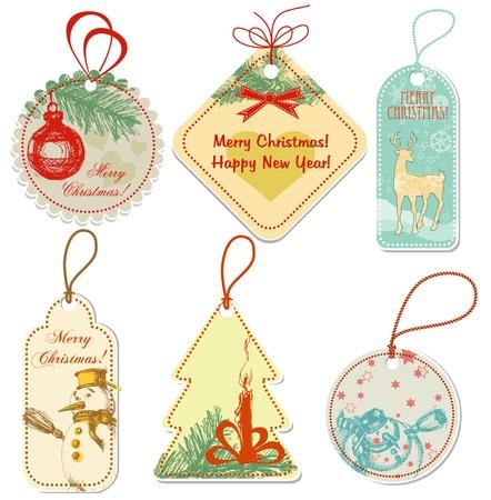 Retro Christmas tags Vector