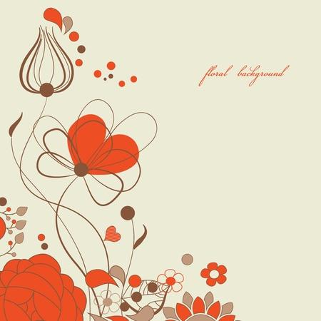 round corner: Love floral background