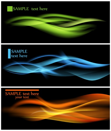 Shiny color waves over dark vector backgrounds  Vector