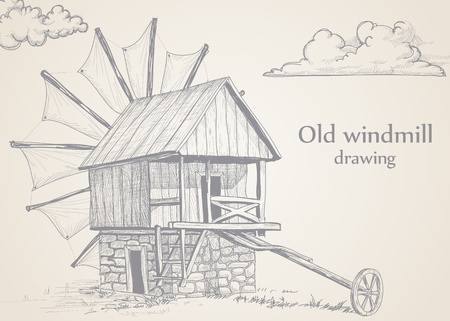Old windmill drawing Stock Vector - 10702821