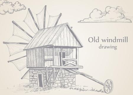 windmolen: Oude windmolen tekening