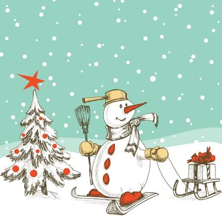 botas de navidad: Mu�eco de nieve esqu� con trineos, regalos y �rboles de Navidad Vectores