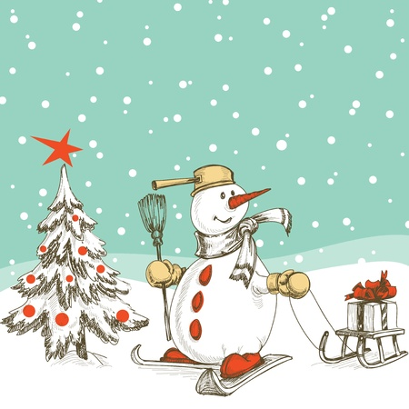 Skiing snowman with sledge, gift and Christmas tree Vector