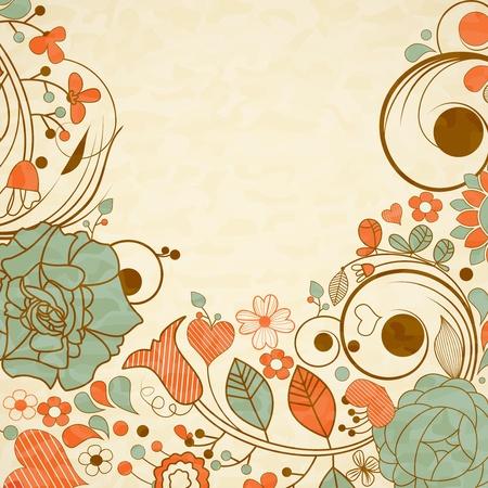 Vieux fond de papier, floral frame