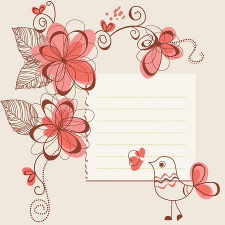 Flowers and bird romantic card  Vector