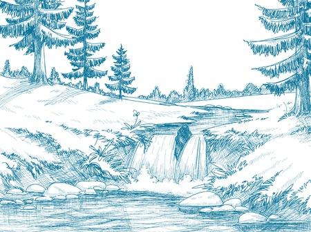 river rock: Disegno a matita fiume montagna