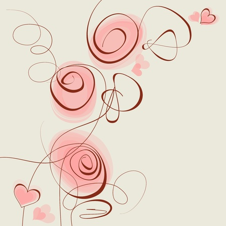 Pink flowers and hearts background Vector