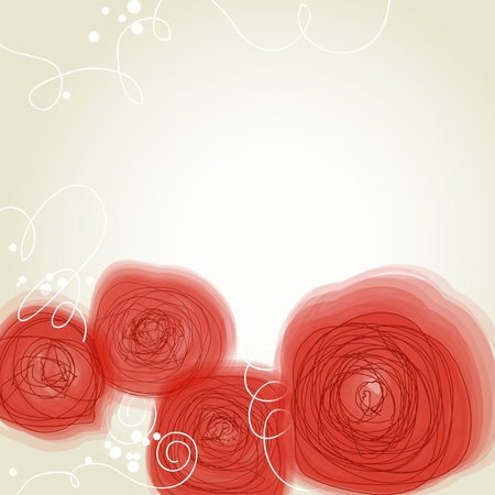 Beautiful red flowers retro background  Vector