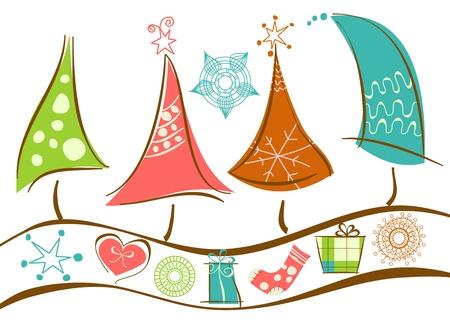 Kerstboom lijn en versieringen Vector Illustratie