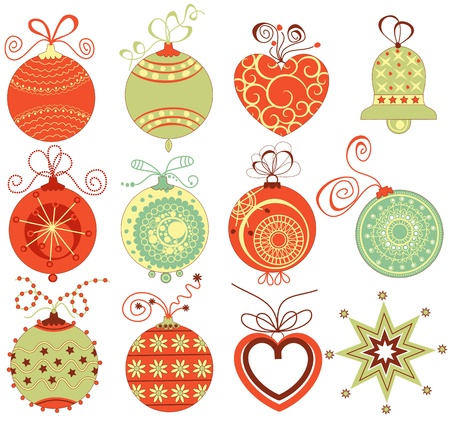 christmas toy: Retro Christmas ornaments set in traditional colors  Illustration