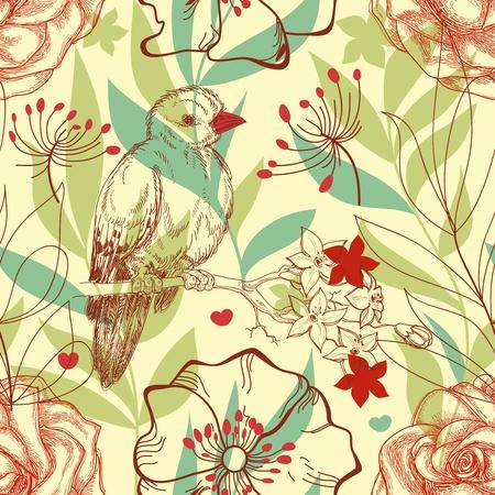 식물상: 새와 장미 복고 원활한 패턴