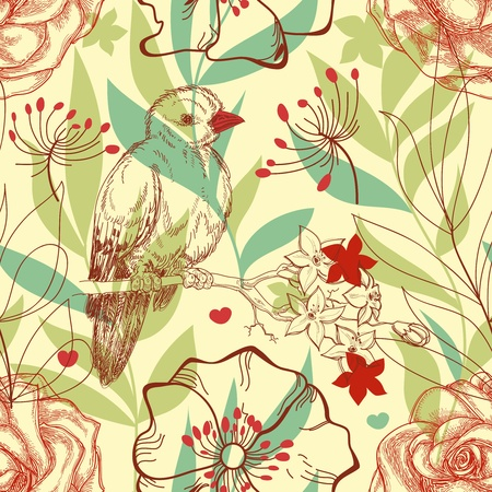 flores vintage: Bird and roses retro seamless pattern