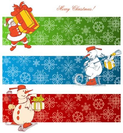 papa noel en trineo: Dibujos animados Navidad banners Vectores