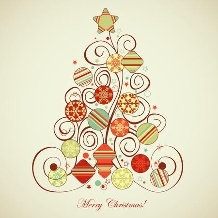 yuletide: Retro Christmas tree Illustration