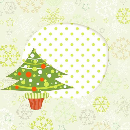 Christmas tree and cut out paper frame for text  Vector