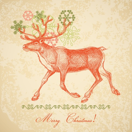 Vintage Christmas card Stock Vector - 10864910