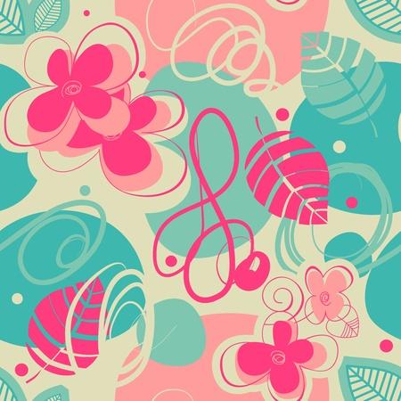 turquoise swirl: Retro pattern
