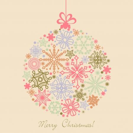 Rétro boule de Noël faite de flocons de neige, boho couleurs Vecteurs