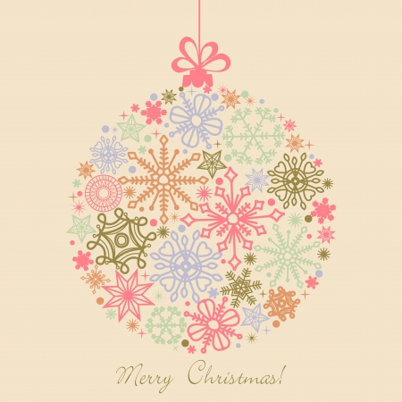 Retro Christmas ball made of snowflakes, boho colors  Vector