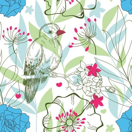 Floral bird seamless pattern  Vector