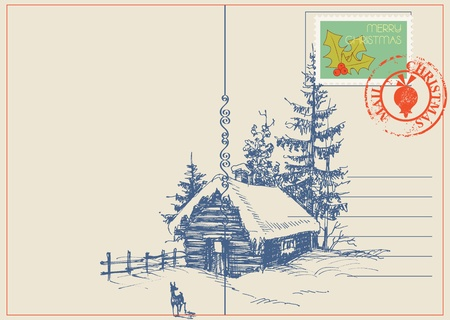 Christmas card winter nature scene.