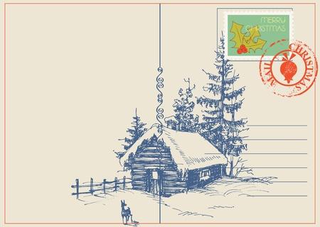 muerdago: Navidad invierno tarjeta de naturaleza escena.