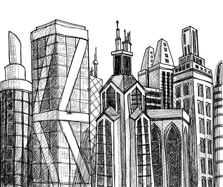 sketched shapes: Urban buildings